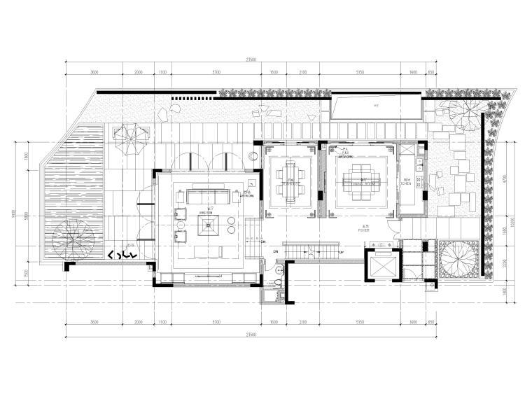 [深圳]长岭京基新中式二层别墅装修施工图-一层平面布置图
