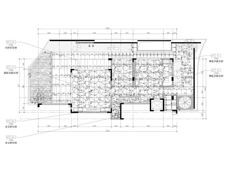 [深圳]长岭京基新中式二层别墅装修施工图-一层地面铺装图