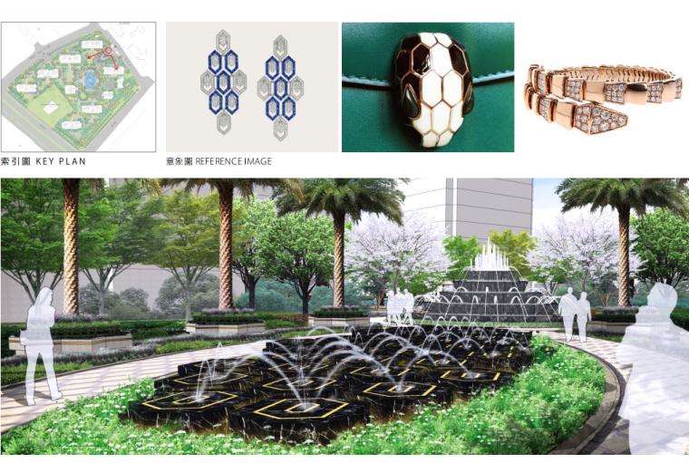 [江苏]杭州高档现代风居住区景观深化设计-入口水景效果图