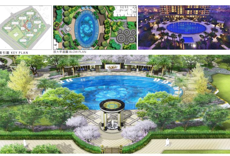 [江苏]杭州高档现代风居住区景观深化设计-泳池景观效果图