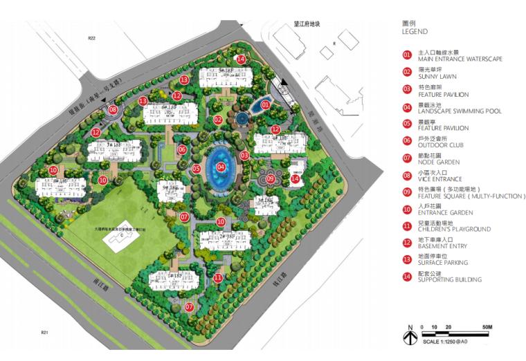 [江苏]杭州高档现代风居住区景观深化设计-总平面图