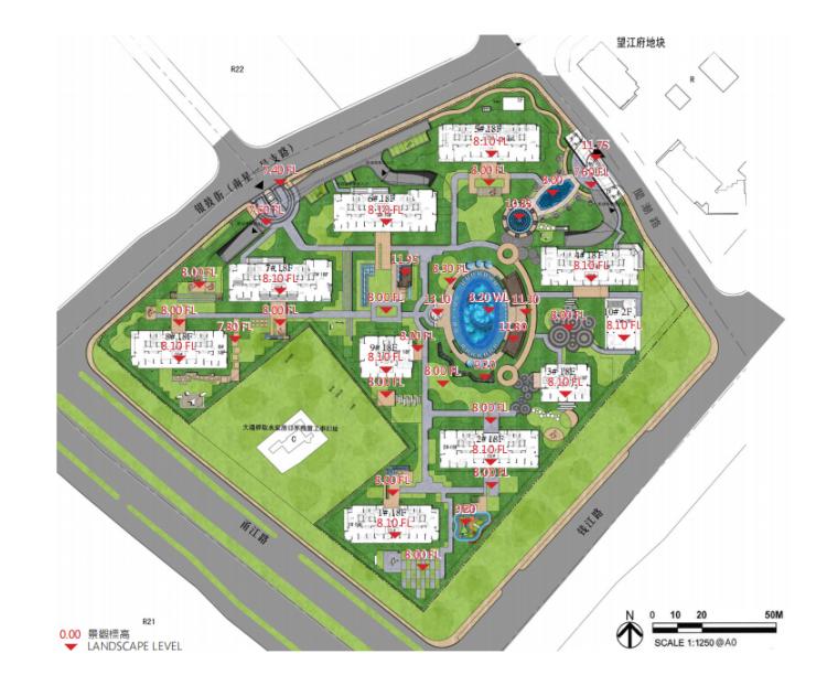 [江苏]杭州高档现代风居住区景观深化设计-高差分析
