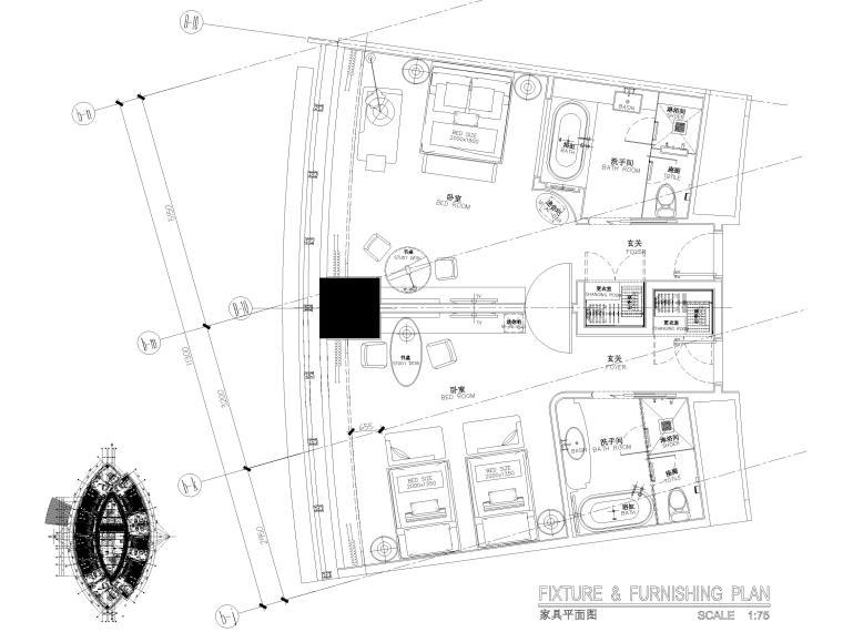 [上海]铂尔曼五星级酒店室内装修部分施工图-连通房平面布置图