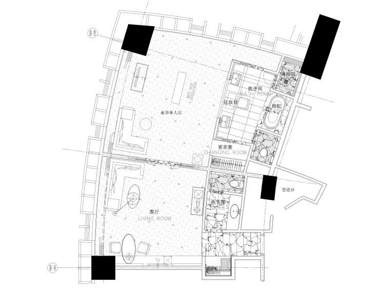 [上海]铂尔曼五星级酒店室内装修部分施工图-豪华单人房平面布置图
