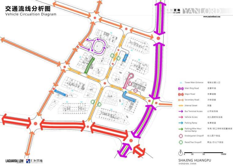 [广东]知名企业现代风格商业办公建筑方案-交通流线分析