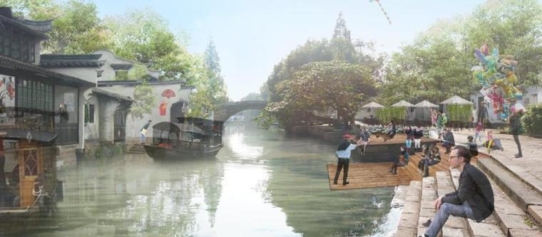 [上海]青浦小镇居住区景观设计方案-滨河景观效果图