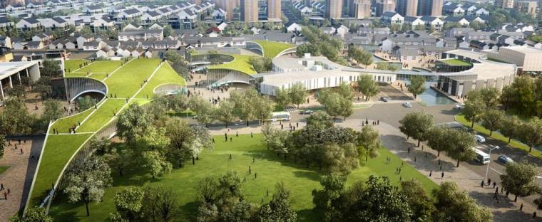 [上海]青浦小镇居住区景观设计方案-公园景观效果图