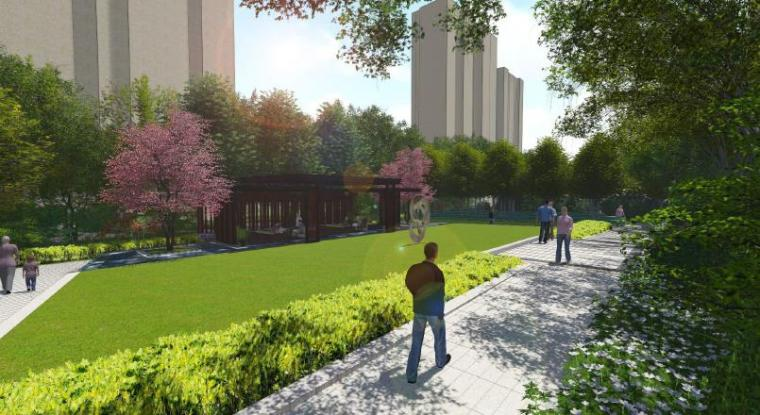 [上海]浦东知名现代风格居住区景观设计方-休闲区效果图