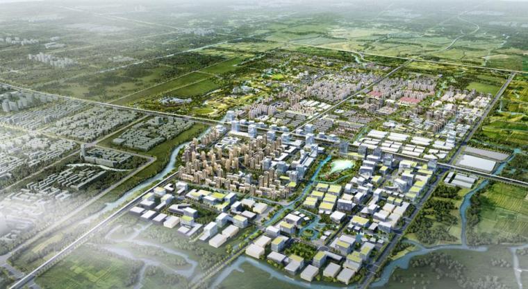 [上海]青浦小镇居住区景观设计方案-鸟瞰图