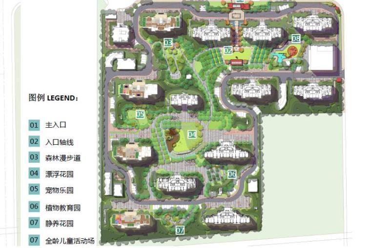 [上海]浦东知名现代风格居住区景观设计方-总平面图