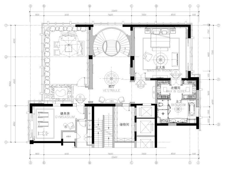 [辽宁]大连三层欧式公馆室内装修设计施工图-三层平面布置图