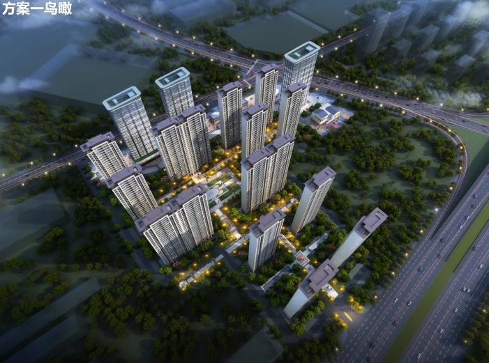 长沙东十路高层公寓_复式商住混合方案文本-方案一鸟瞰图