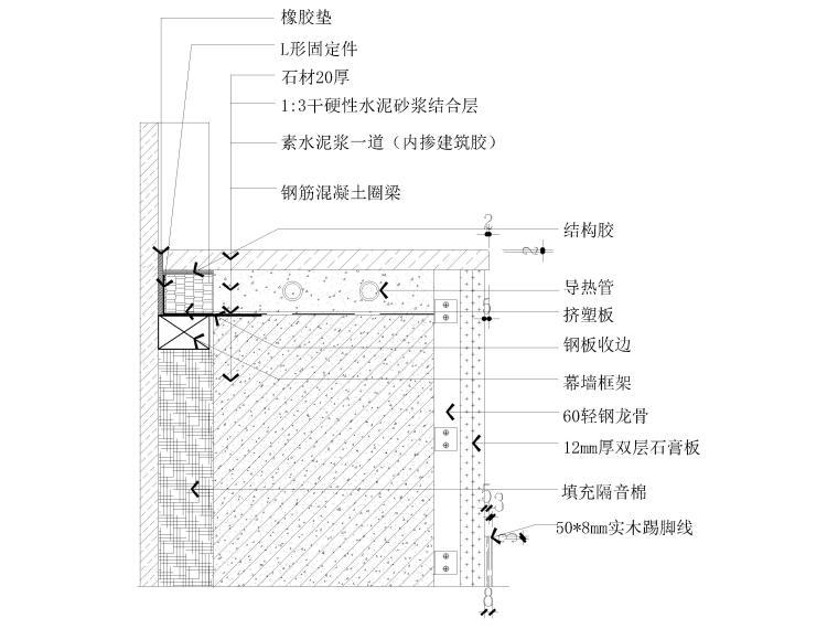 40套墙面,地面,天花,拼接等收口节点详图-窗台板与幕墙收口节点