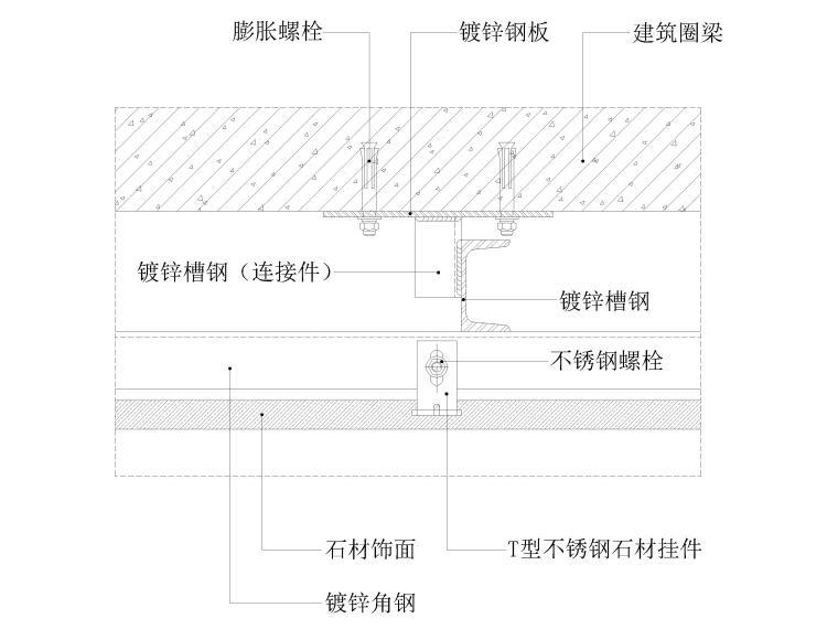 墙面,吊顶,地坪,门表,卫浴节点大样详图图集-石材干挂墙面节点图(横剖,轻质砖墙体)