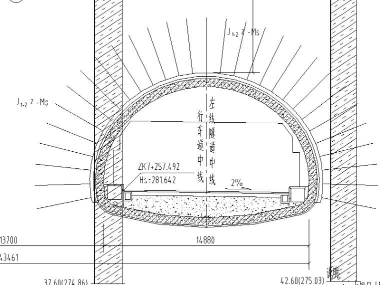 [重庆]高速公路隧道工程施工图设计说明-隧道内轮廓图