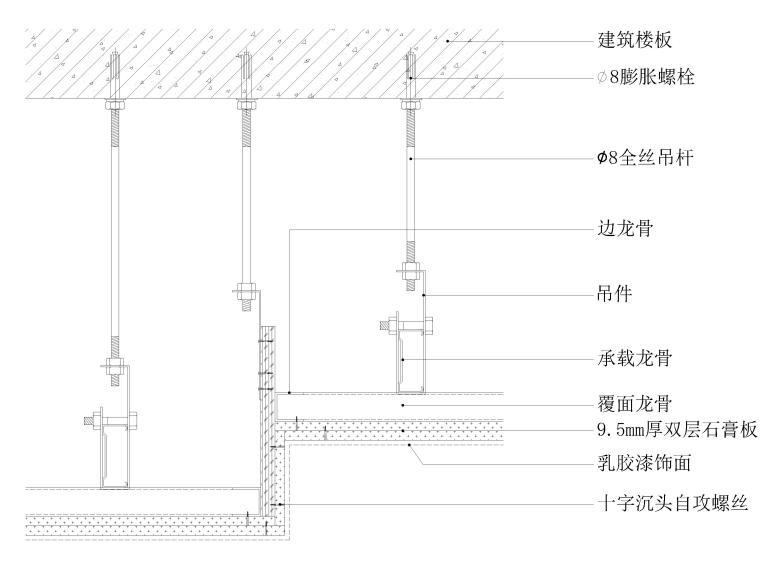 墙面,吊顶,地坪,门表,卫浴节点大样详图图集-石膏板吊顶节点图(高低差造型)