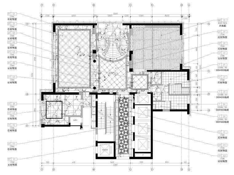 [辽宁]大连三层欧式公馆室内装修设计施工图-一层地面铺装图