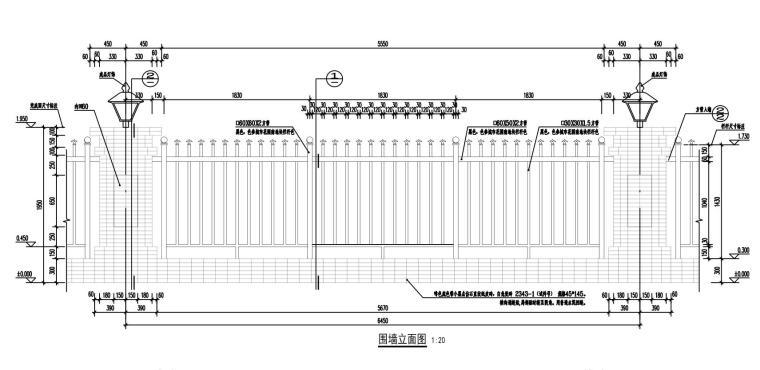 知名企业城市花园围墙详图设计 (1)