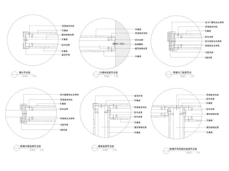 屏风,玻璃,石膏板隔断隔墙节点详图-玻璃隔墙节点图