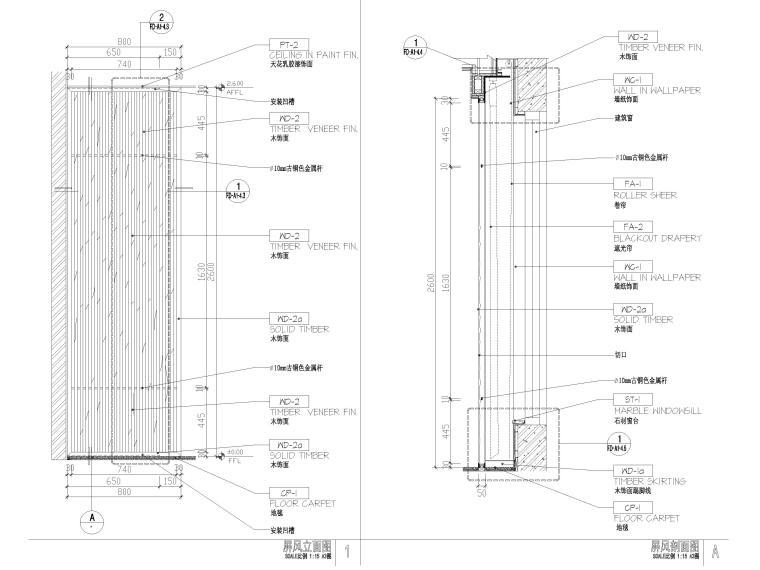 屏风,玻璃,石膏板隔断隔墙节点详图-屏风节点详图