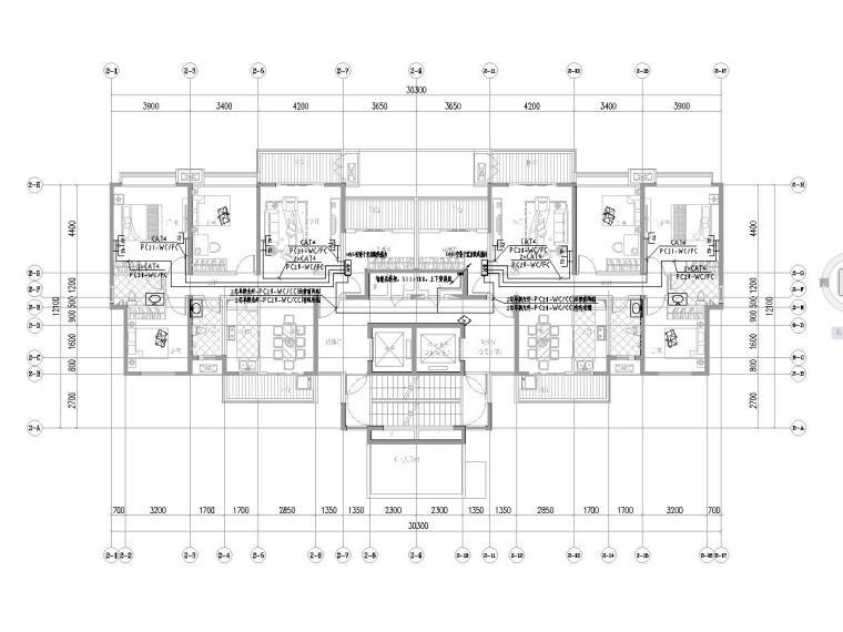 [一键下载]六套2020年最新住宅建筑电气图纸-[广东]知名集团高层住宅楼电气施工图2020.7-4智能化平面图