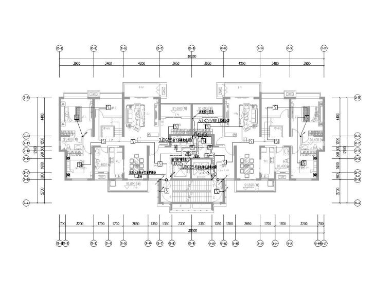 [一键下载]六套2020年最新住宅建筑电气图纸-[广东]知名集团高层住宅楼电气施工图2020.7-3火灾自动报警及联动平面图