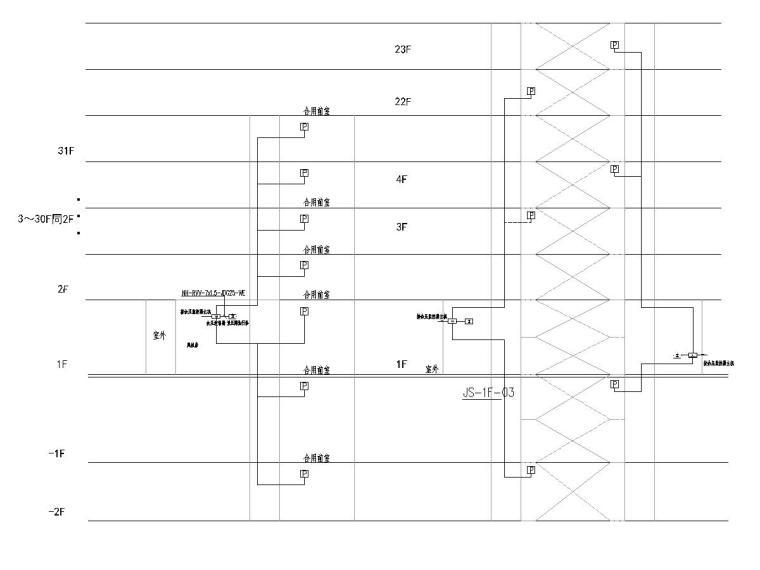[一键下载]六套2020年最新住宅建筑电气图纸-[广东]知名集团高层住宅楼电气施工图2020.7-7余压系统图
