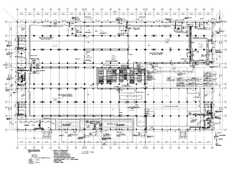 [广州]高端厂房净化通风_暖通施工图2020-一层空调净化新风平面图