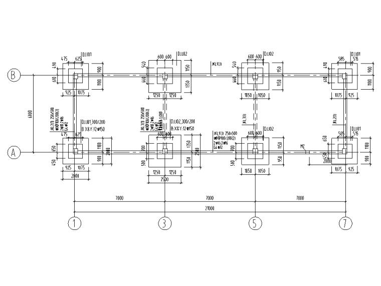[肇庆]电容基地一期全套结构施工图2020-氢气汇流排间基础平面布置图