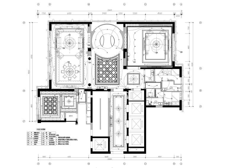 [辽宁]大连三层欧式公馆室内装修设计施工图-一层灯具连线平面图