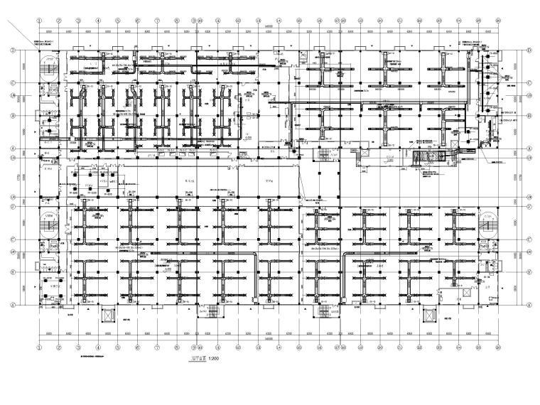 [广州]高端厂房净化通风_暖通施工图2020-二层空调风管平面图