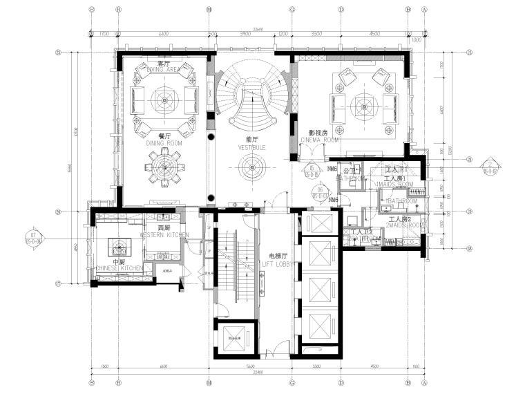 [辽宁]大连三层欧式公馆室内装修设计施工图-一层平面布置图