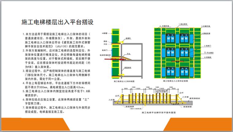 脚手架工程安全标准图册(图文丰富)-施工电梯楼层出入平台搭设