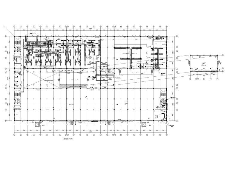 [广州]高端厂房净化通风_暖通施工图2020-三层空调送风、新风平面图