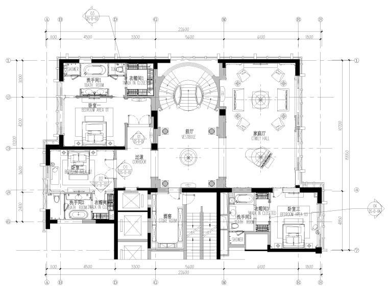 [辽宁]大连三层欧式公馆室内装修设计施工图-二层平面布置图