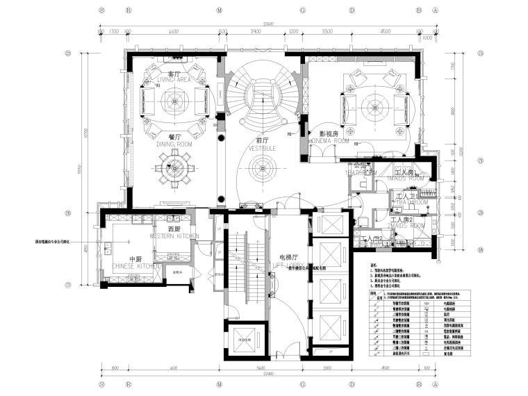 [辽宁]大连三层欧式公馆室内装修设计施工图-一层插座连线平面图