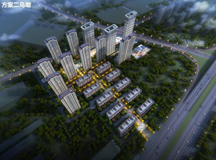 长沙东十路高层公寓_复式商住混合方案文本-方案二鸟瞰图