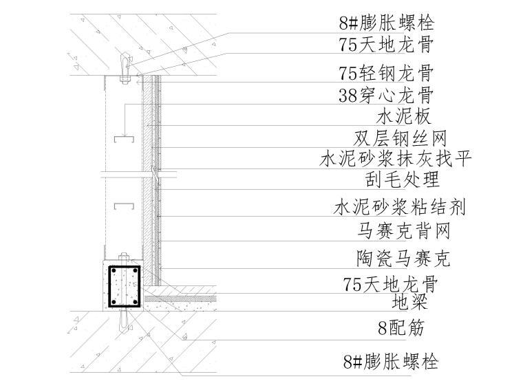 40套墙面,地面,天花,拼接等收口节点详图-陶瓷马赛克隔墙工程做法