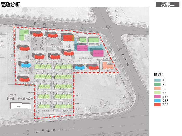 长沙东十路高层公寓_复式商住混合方案文本-方案二层数分析