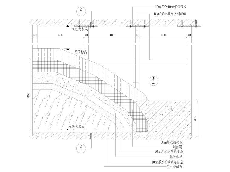 40套墙面,地面,天花,拼接等收口节点详图-钢架隔墙、石材湿贴节点图