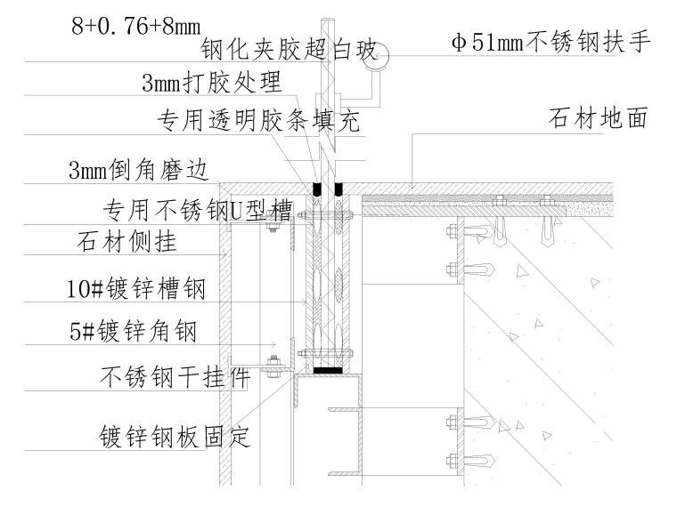 40套墙面,地面,天花,拼接等收口节点详图-玻璃栏杆扶手工程做法