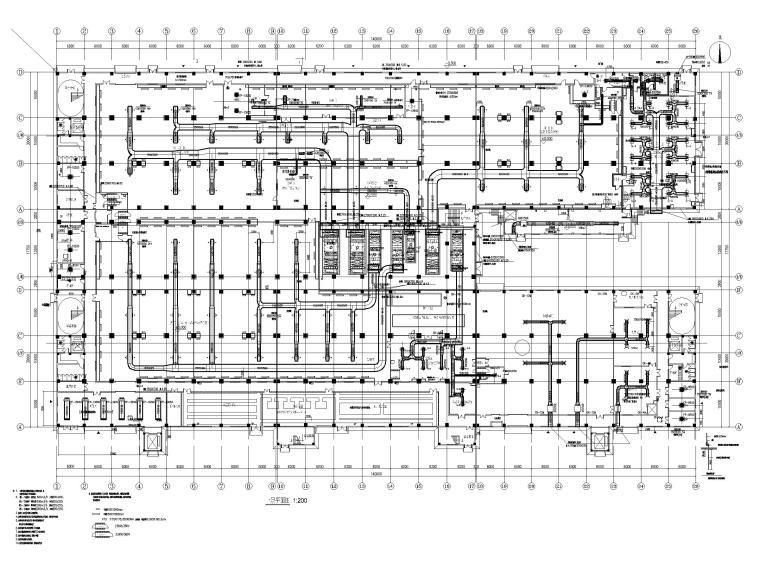 [广州]高端厂房净化通风_暖通施工图2020-一层净化送风平面图