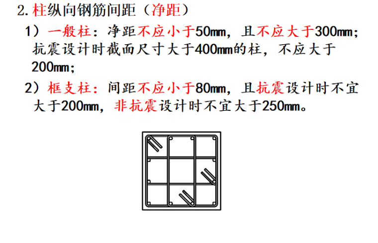 G901图集一般构造要求及框架梁讲义PPT-03 柱纵向钢筋间距