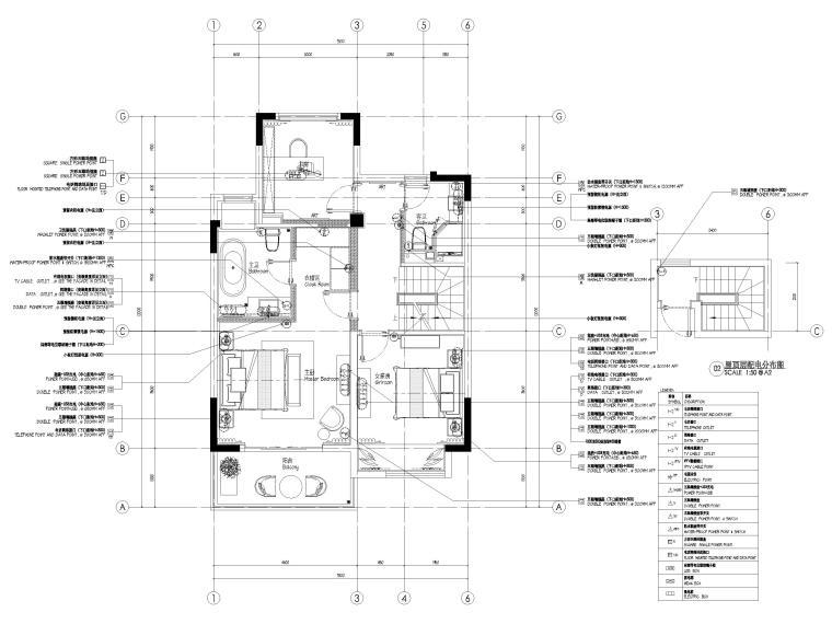 [无锡]金茂府182㎡三居上叠叠墅样板间图纸-四层上叠配电布置图