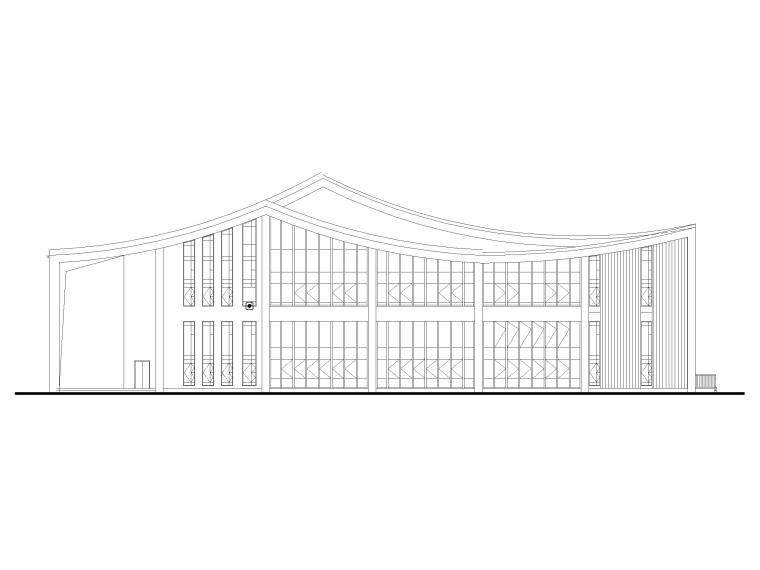 多层防灾减灾大数据中心建筑施工图含标文-防灾减灾大数据中心建施-立面图1