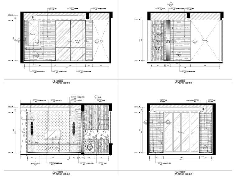 [无锡]金茂府182㎡三居上叠叠墅样板间图纸-三层立面图