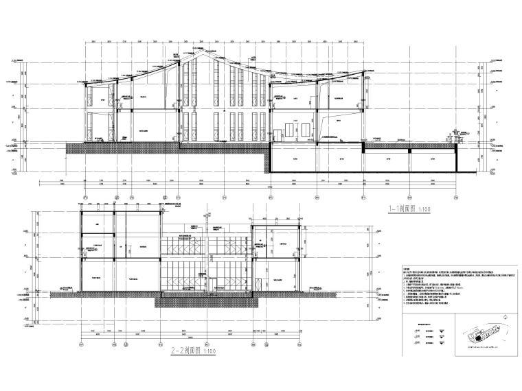 多层防灾减灾大数据中心建筑施工图含标文-防灾减灾大数据中心建施-剖面图