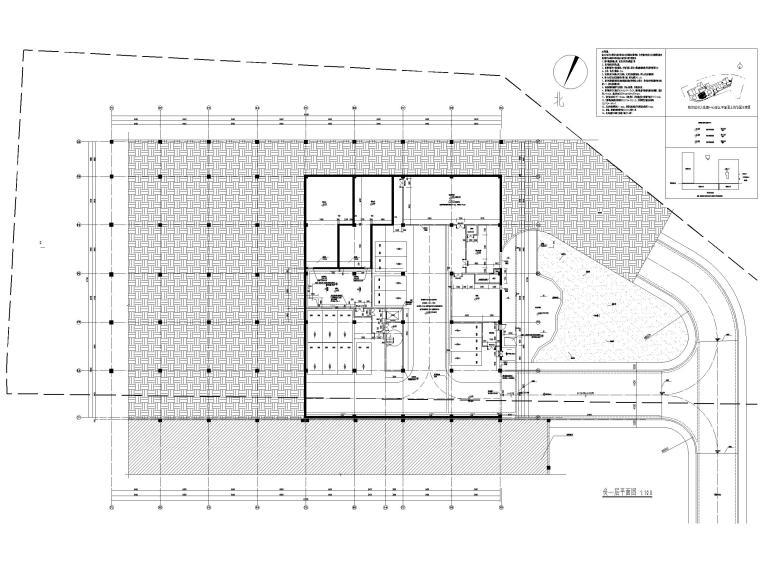 多层防灾减灾大数据中心建筑施工图含标文-防灾减灾大数据中心建施-负一层平面图