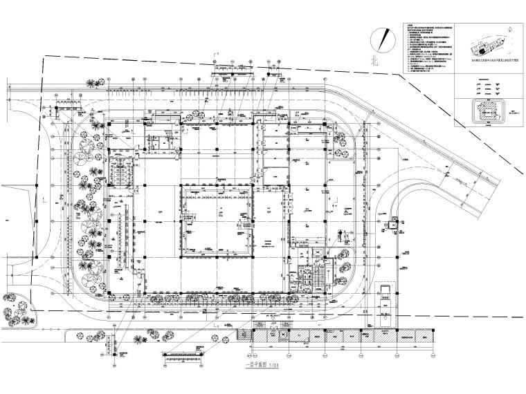 多层防灾减灾大数据中心建筑施工图含标文-防灾减灾大数据中心建施-一层平面图