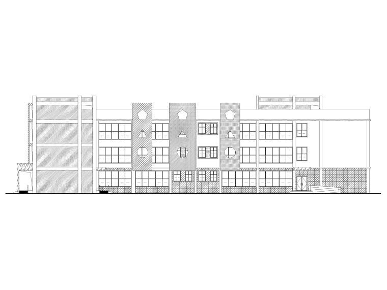 9班框架结构幼儿园建筑施工图2020-立面图1